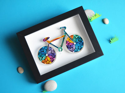 Bike, Bicycle, Quilling art, Paper art, Wall decor, Home, Framed, Sport, Handmade, Decor, Design, Gift