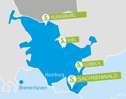 Locations Schleswig-Holstein, Flensburg, Kiel, Lübeck, Sachsenwald, teamevent.de, Teamevent, Firmenevent, Betriebsausflug, Schnurstracks, Teambuilding