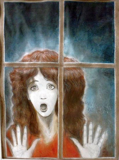 """Cathy's Geist am Fenster - die Schlüsselszene aus Emily Brontés Roman """"Sturmhöhe"""" - wurde von Kate Bush Ende der 70er Jahre im Lied """"Wuthering Heights"""" zu einem Welthit der Popmusik vertont.. Mixed Media auf Papier, 2015."""