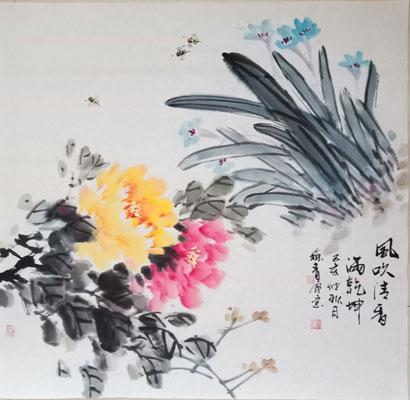 Blumen im Wind (68x68 cm)