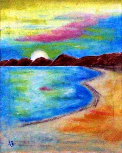 Sonnenuntergang am Meer, Ölgemälde, Meerlandschaft, Küste, Strand, Meer, Sonne, Landschaftsbild, Ölmalerei, moderne Kunst,WandbildWolken, Himmel