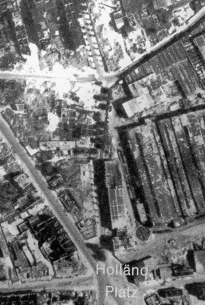 Moritzstraße nach der Bombardierung 1943  (Querstraße oberes Drittel , die Nummer 13 in der Mitte an der Kreuzung