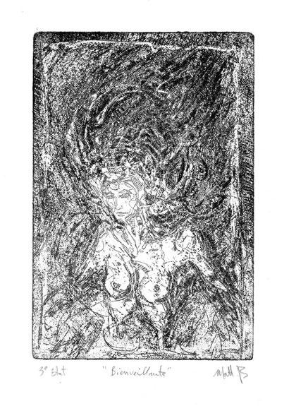 Bienveillante / Eau forte sur cuivre / 10 x 15 cm / 3ème Etat / exemplaire unique / 2015