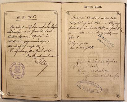 Laufenburg 10. 4. 1885 / Bözingen (Biel) 7. 3. 1886 / Horgen 28. 4. 1886