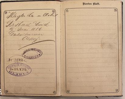 Riesbach ZH 15. 6. 1886 / Glarus 26. 10. 1886