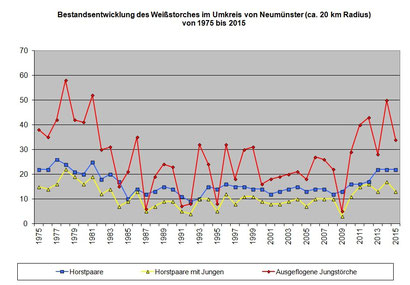 Die Bestandsentwicklung des Weißstorches in der Umgebung von Neumünster seit 1975 - Datenerhebung Peter Hildebrandt. Zum Vergrößern bitte auf das Bild klicken!