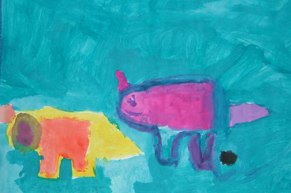 Viktoria Ljabin ( 7 Jahre): bunte Elefanten