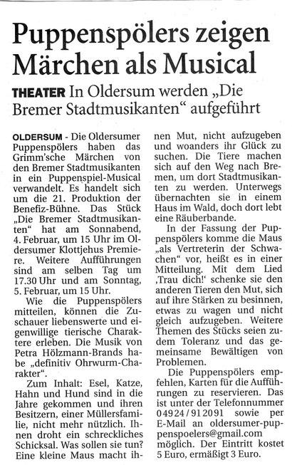 Ostfriesen-Zeitung v. 31.12.2016