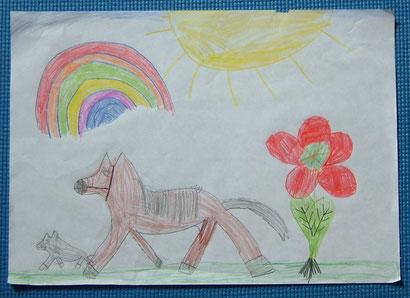 Maja (Klasse 1, GS Oldersum): großes und kleines Pferd auf der Sommerwiese