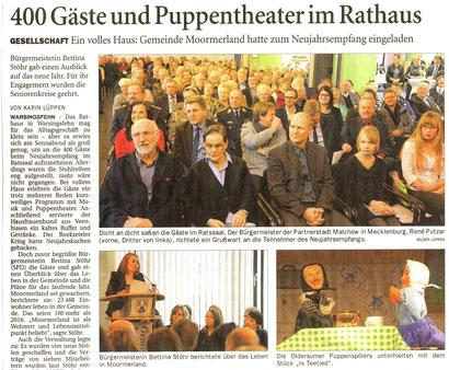 Ostfriesen-Zeitung v. 29.01.2018.  Foto: Karin Lüppen