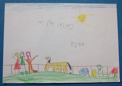 Esme (Klasse 1, GS Oldersum): Kinder mit Pferden