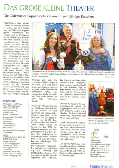 Ferienzeitung der ZGO Zeitungsgruppe, Ausgabe Oktober 2017