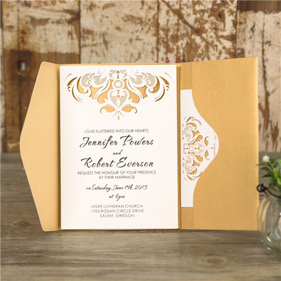 Pocketfold Karte #PFB2116, Standardfarbe Metallic Gold mit Lasercut Einleger, Hochzeitskarten, Einladungskarten