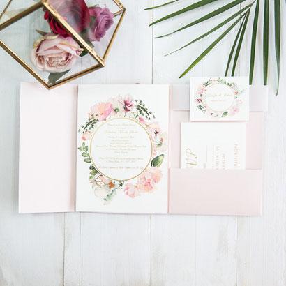 Pocketfold Karte #PFC2117, Standardfarbe Blush Shimmer, Einleger mit Grafik, Hochzeitskarten, Einladungskarten