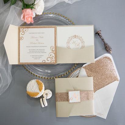 Pocketfold Karte #PFD2118, Standardfarbe Champagne Gold Shimmer, Einleger mit Grafik, Glitter Passepartout, Glitter Banderole, Glitter Inlay für Kuverts, Hochzeitskarten, Einladungskarten