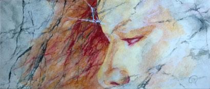 """Schilderij acryl 80x34 cm, gezicht in marmer, titel """"ondoorgrondelijk verlangen"""""""