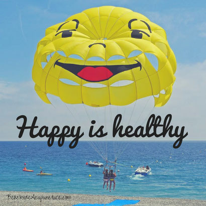 happy is healthy over beach