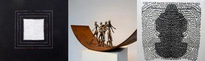 Käthy Borer-Gut (Papier),  Daniel Schwarz (Skulptur),  Irmgard Basler (Druck)
