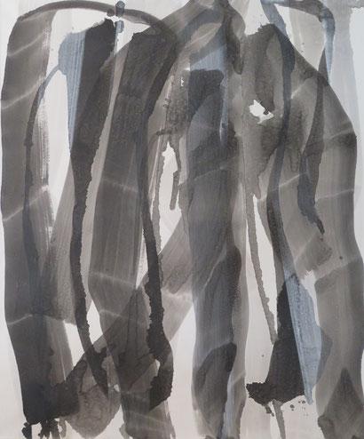 strokes 36,  Tusche mit Kreidegrund auf Leinwand, 120x100cm