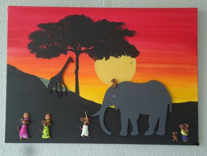 Toile 50x70cm - Coucher de soleil africain