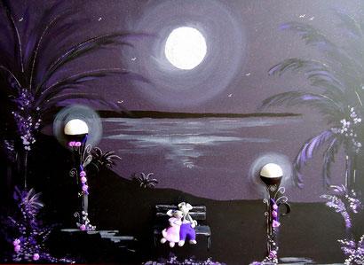 Toile 50x70cm - Clair de lune au bord de l'eau