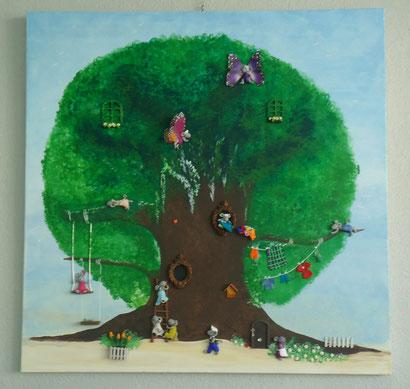 Toile 100x100cm - La maison dans l'arbre
