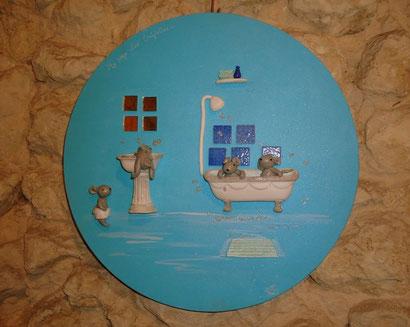 Toile ronde 40cm - Salle de bain