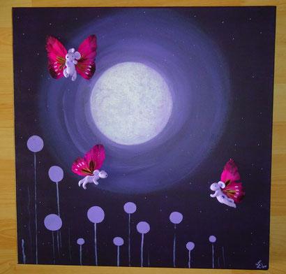 Toile 50x50cm - Les papillons de nuit