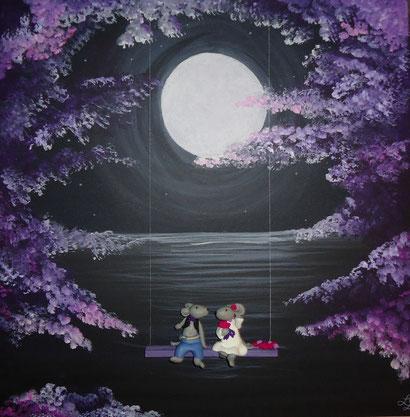 Toile 50x50cm - Balançoire au clair de lune