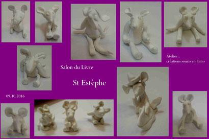 """Animation """"souris en FIMO"""" - Salon du livre St Estèphe 2016"""