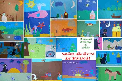 """Animation """"découpages/collages"""" - Salon du livre Le Bouscat 20.03.13"""