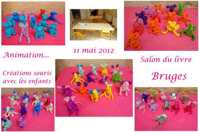 """Animation """"souris en Fimo"""" au salon du livre de Bruges (Mai 2012)"""