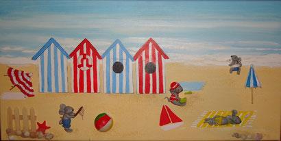 Toile 30x50cm - Une journée à la plage