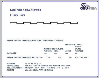 TABLERO PARA PUERTA LT 100 - 100