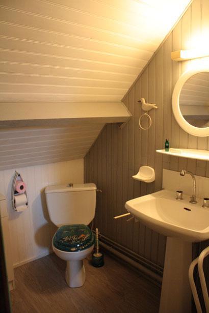 Salle de bain et toilettes communes aux deux chambres