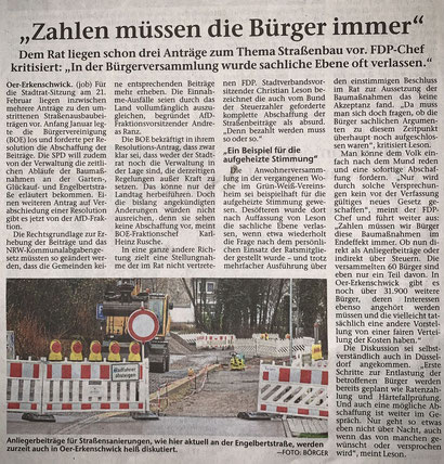 Artikel der Stimberg Zeitung vom 29.1.2019