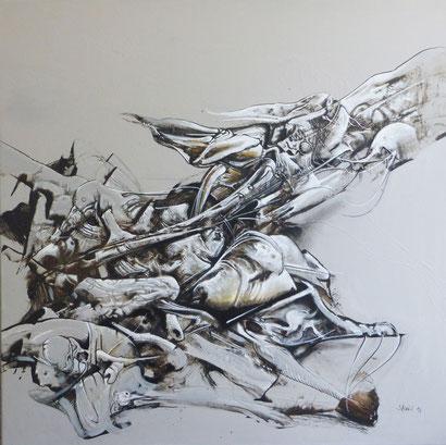 Formation acrylique sur toile Dim: 100cmx100cm