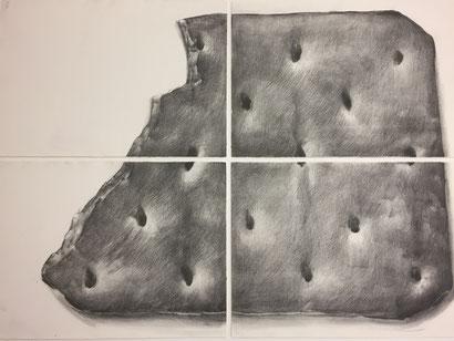 Bilder einrahmen: Zeichnung bestehend aus 4 Teilen (Bisquit) sind schwebend auf Trägerkarton fixiert.