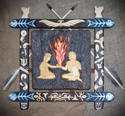 """""""Неолитическая любовь"""", резьба, выжигание, роспись масляными красками, 2010"""