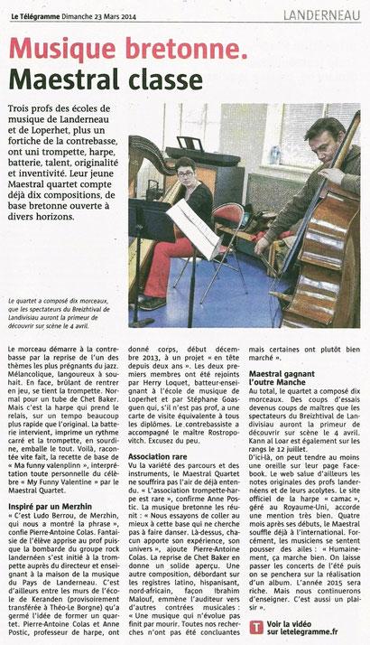 Le Télégramme 23/03/2014