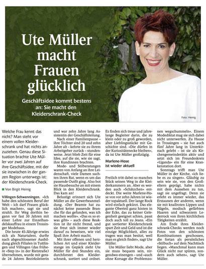 Artikel im Schwarzwälder Bote am 01.10.2016