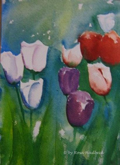 aquarell kaufen, kunst kaufen, bild kaufen, aquarell, tulpen, tulpenaquarell, tulpenbild, bild, handgemalt, weiß,violett, gelb, grün,, kunst, bild, wanddekoration, dekoration, wandbild, art, malen, malerei