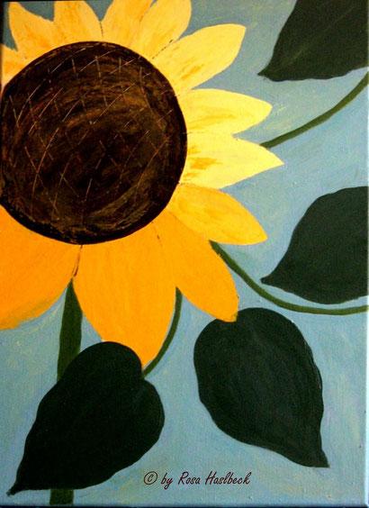 Acrylbild, acryl, blumen, blumenbilder, sonnenblume sommer, abstrakt, grün, gelb, blau, bilder, bild, malen, malerei, kunst, deko, dekoration, wandbild, abstrakt