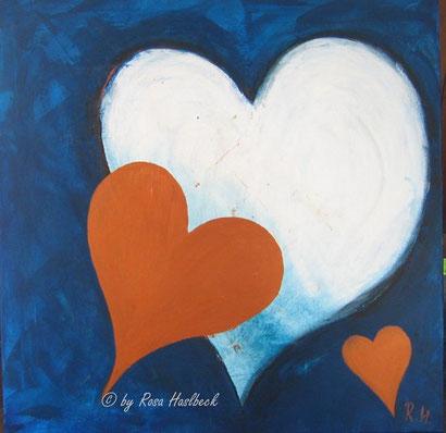 Acrylbild, acryl, herz, herzen, menschen, geschenk, liebe, blau, kupfer, weiß, bild, malen, malerei, kunst, geko, dekoration, wandbild, abstrakt