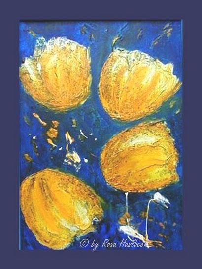 Acrylbild, acryl, blumen, blumenbilder, tulpen, tulpenbild, tulpenbilder, bilder kaufen gelb, blau, weiß, bild, malen, malerei, kunst, deko, dekoration, wandbild, abstrakt