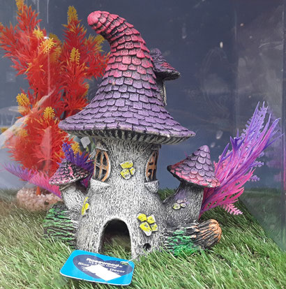 PURPLE PIXIE HOUSE FISH TANK ORNAMENT £16.00  ALSO AVAILABLE IN BLUE