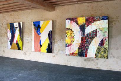 Les grands formats des artistes Riffis Valera occupent parfaitement les espaces du Château Livran