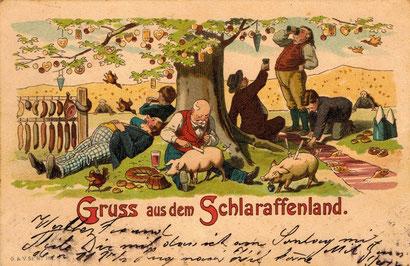 Le Pays de Cocagne, sur une carte postale allemande, vers 1900