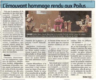 """article """"La Montagne"""" sur le concert de Domérat (03). Journal du 25 avril 2014"""