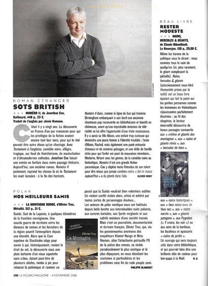Le Figaro Magazine, 4 novembre 2016